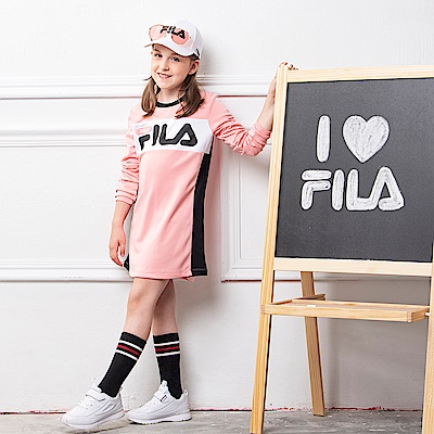 FILA KIDS 童吸濕排汗連身洋裝-粉紅 5DRS-8416-PK