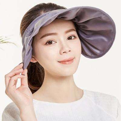 【89 zone】韓版可摺式防紫外線出遊帽箍兩用防曬空頂帽/遮陽帽 (灰)