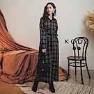 東京著衣-KODZ 經典格紋排釦腰綁帶長版襯衫洋裝-S.M.L(共二色)