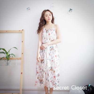 Secret Closet-細帶暈染浮印碎花洋裝-白色