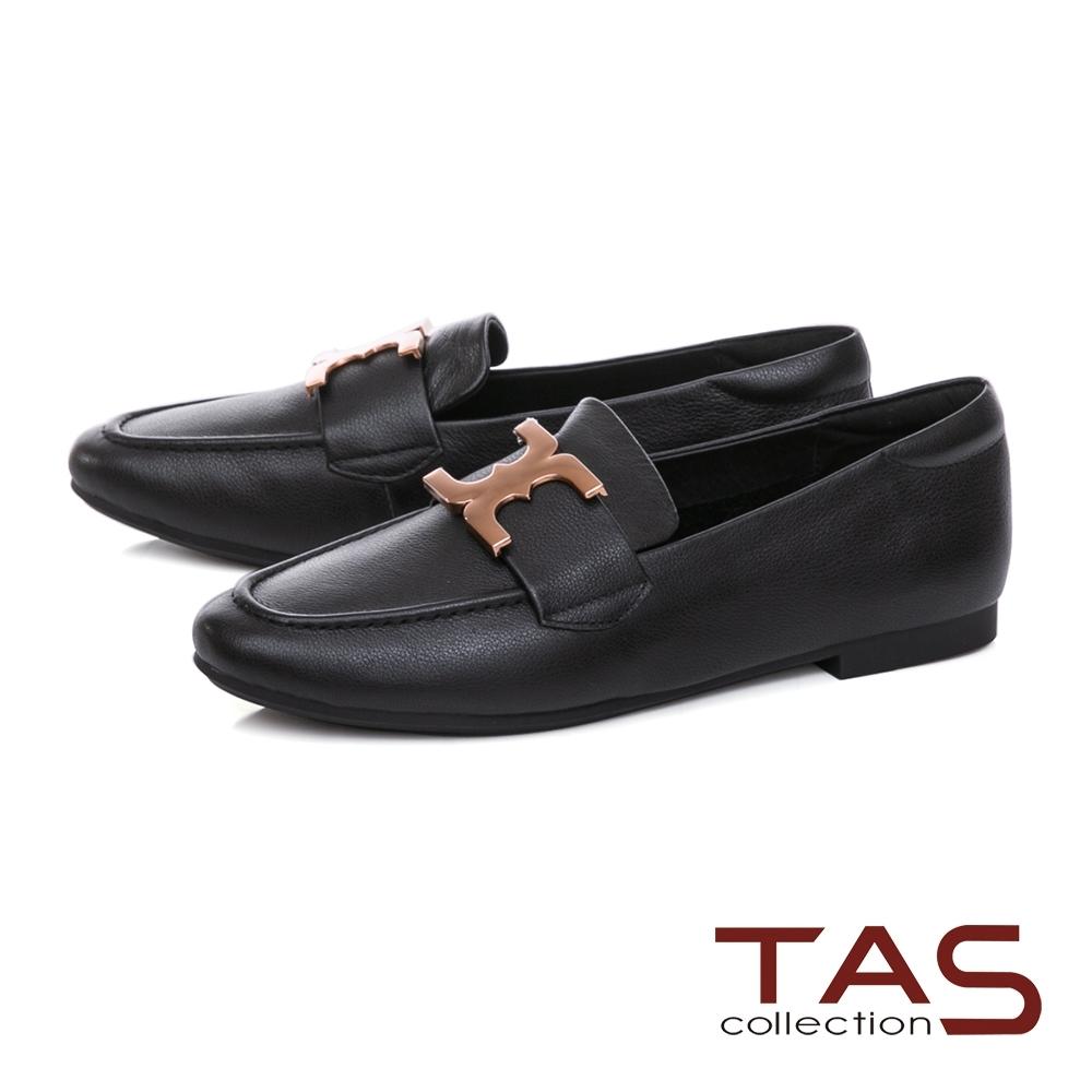 TAS雙C金屬飾扣牛皮樂福鞋-百搭黑