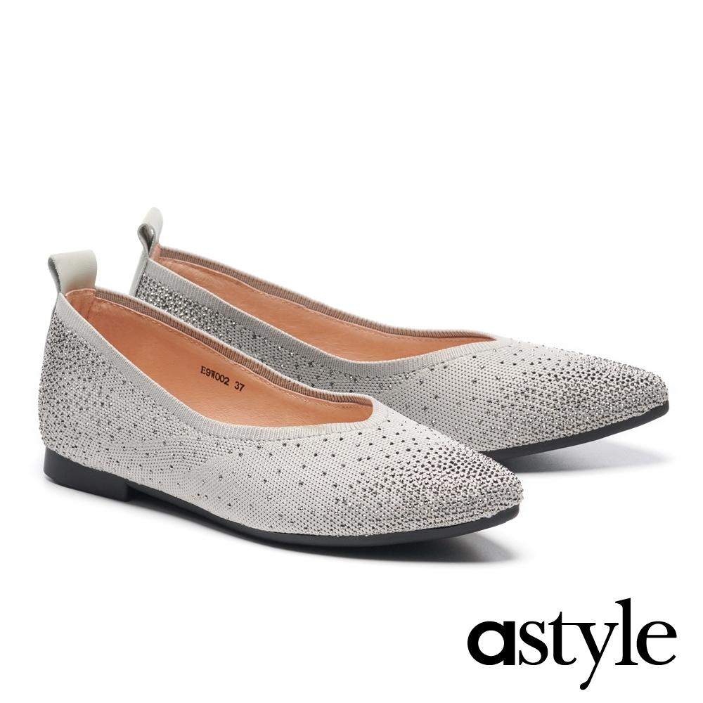 低跟鞋 astyle 時髦耀眼水鑽飛織尖頭低跟鞋-灰