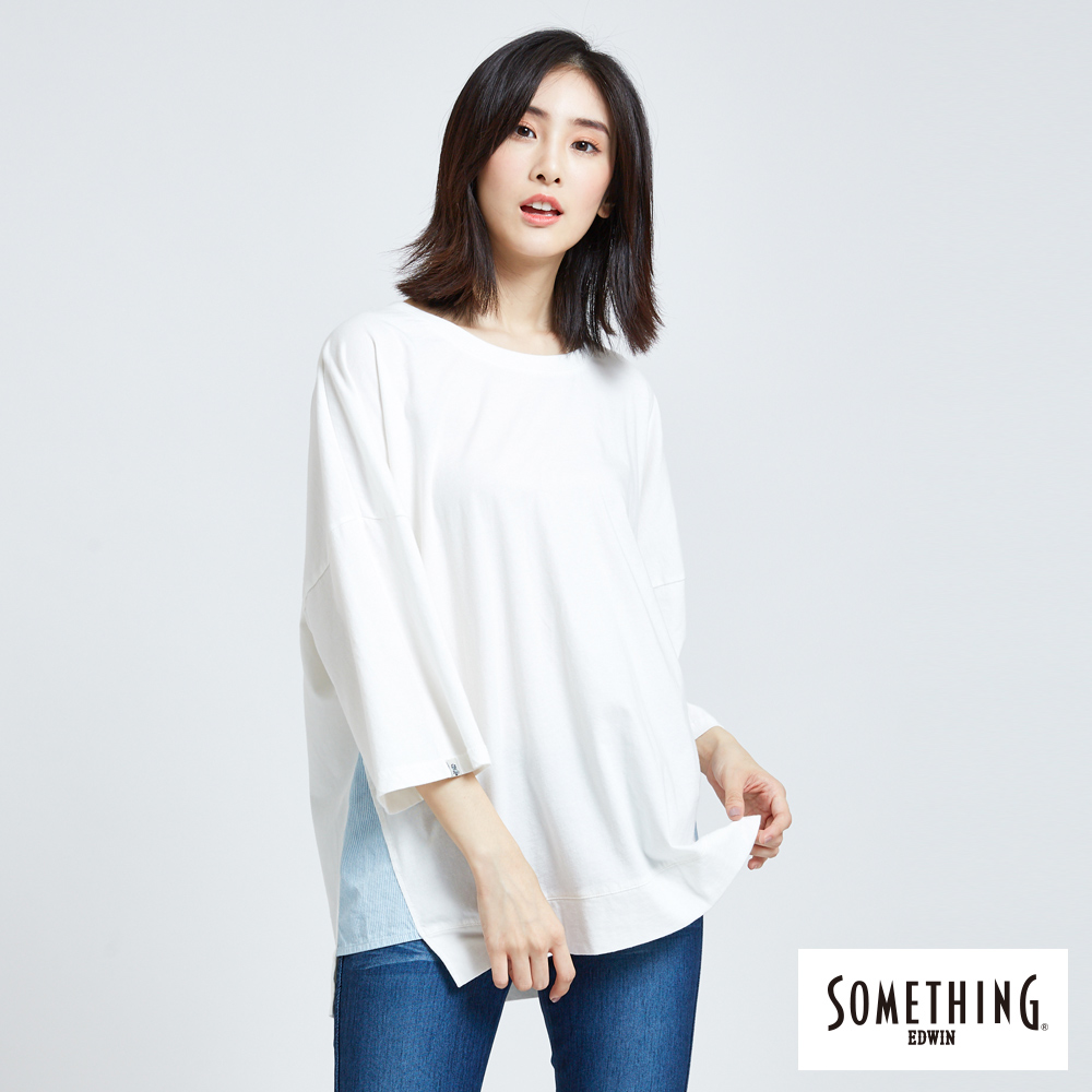 SOMETHING 百搭寬鬆七分袖圓領T恤-女-白色