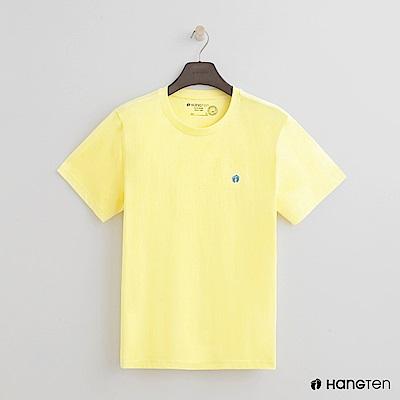 Hang Ten - 男裝 - 有機棉-圓領純色T恤 - 黃