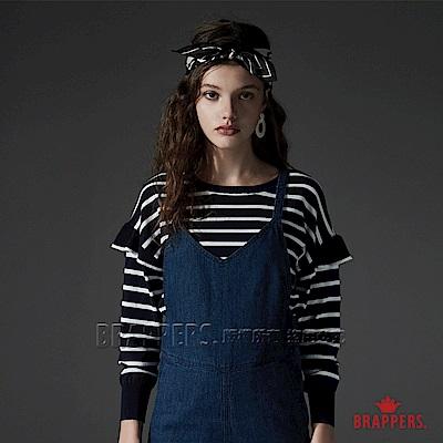 BRAPPERS 女款 荷葉拼接條紋長袖線衫-深藍