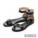 KOKKO-極簡主義繞踝平底一字涼鞋-低調黑