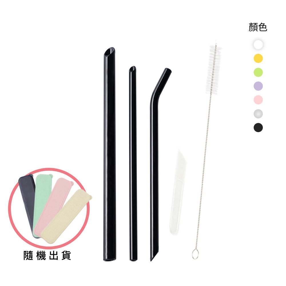 AURA 艾樂 晶亮耐熱多彩玻璃吸管6件組*2 (多色可選) product image 1