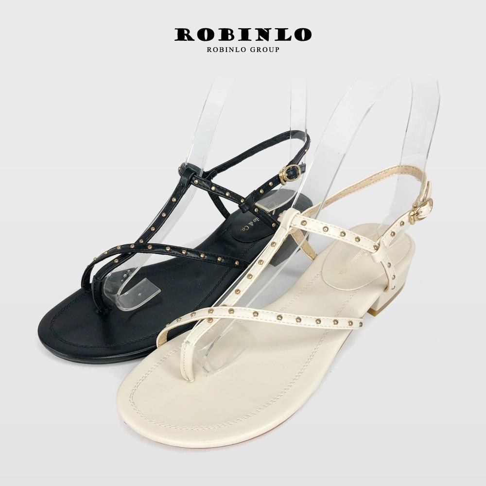 Robinlo率性甜美鉚釘露趾夾腳涼鞋 米白/黑