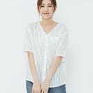 H:CONNECT 韓國品牌 女裝-蕾絲滾邊V領上衣-白