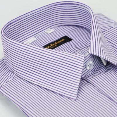 【金安德森】紫色條紋窄版長袖襯衫fast