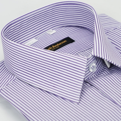 【金安德森】紫色條紋窄版長袖襯衫