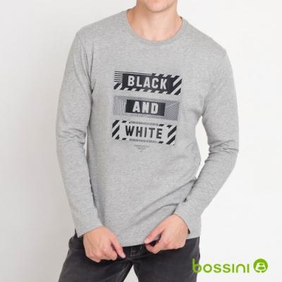 bossini男裝-印花長袖T恤07淺灰