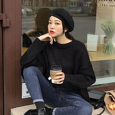 La Belleza簡約素色圓領羅紋拼接包心紗套頭針織毛衣