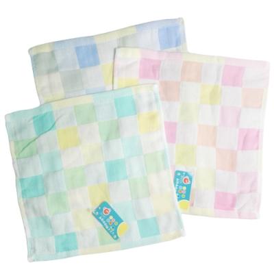 彩色格紋純棉小方巾12入組 4028