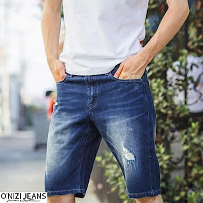 onizi修身漂洗牛仔短褲-男-藍