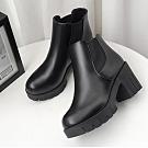 KEITH-WILL時尚鞋館 歐洲站都會風彩兩穿短靴-黑色