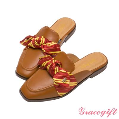 Grace gift-哈利波特葛來分多學院蝴蝶結穆勒鞋 棕