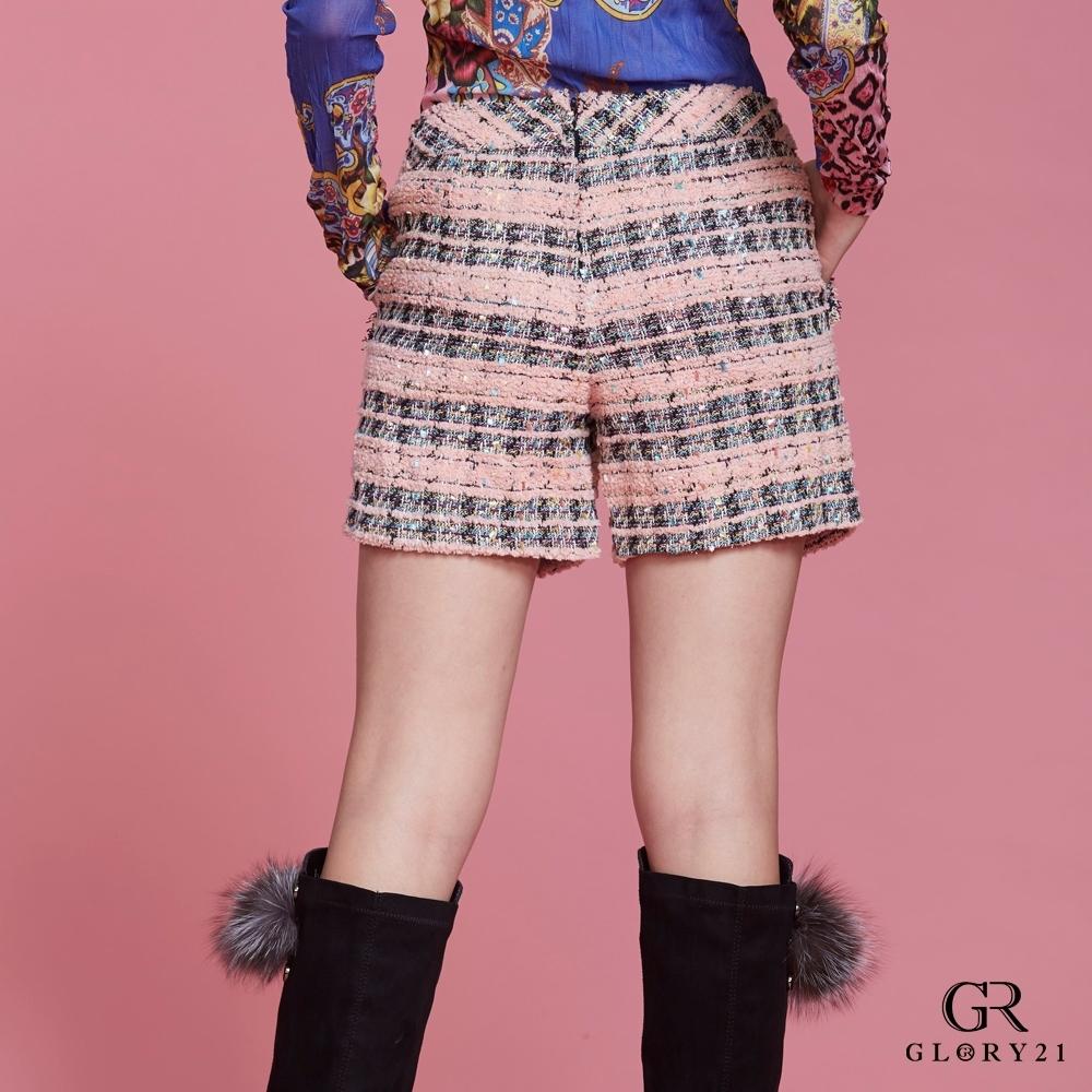 GLORY21小香風毛呢短褲-粉紅
