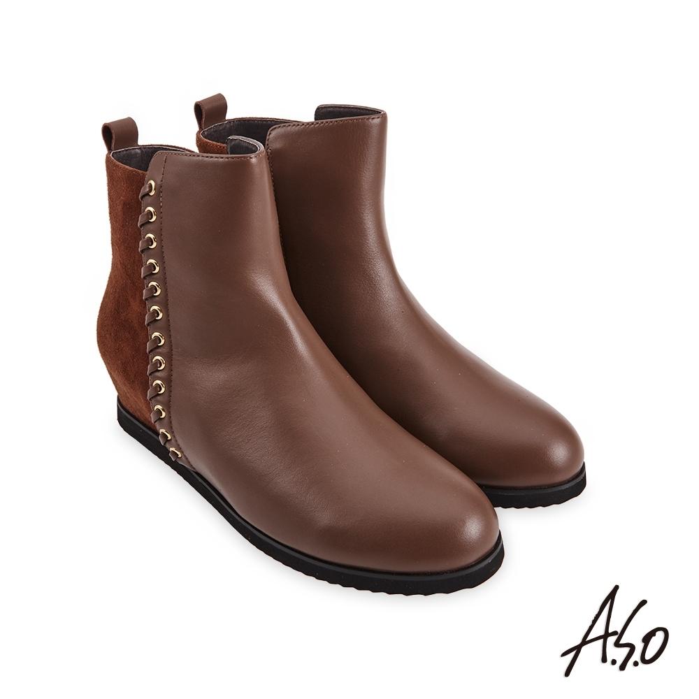 A.S.O  時尚流行 牛皮拼接羊絨飾釦真皮短靴-咖啡
