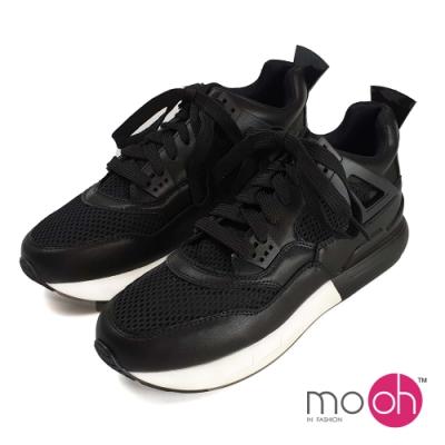 mo.oh 網布內增高厚底運動休閒鞋-黑色