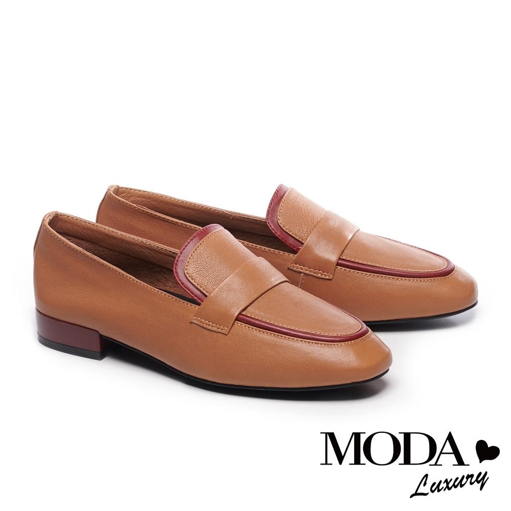 低跟鞋 MODA Luxury 經典復古文青撞色條帶樂福低跟鞋-咖