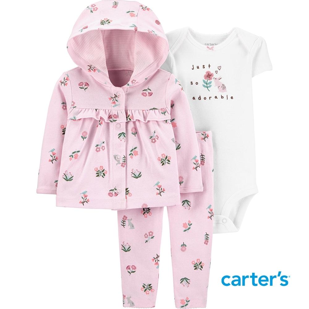 【Carter's】花朵3件組套裝(6M-12M) (外套/長褲)(台灣總代理)