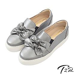 【T2R】全手工真皮氣質蝴蝶結懶人鞋/樂福鞋-鐵灰