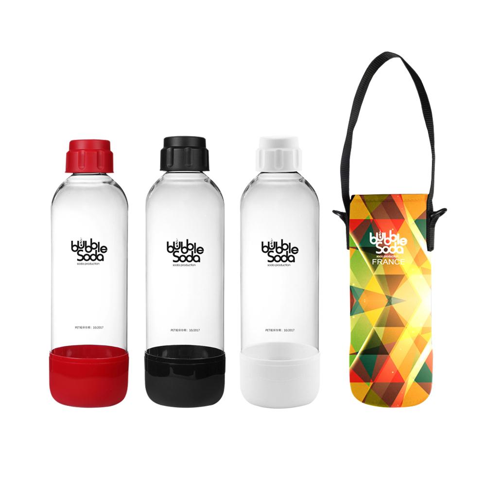 法國BubbleSoda 全自動氣泡水機專用1L水瓶-附保冷袋(五色可選)