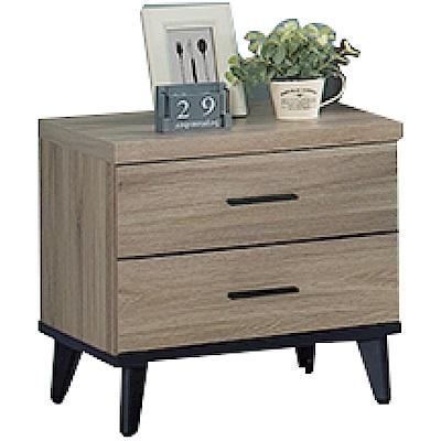 文創集 普利時尚1.7尺二抽床頭櫃/收納櫃-51.5x40.2x50.5cm免組