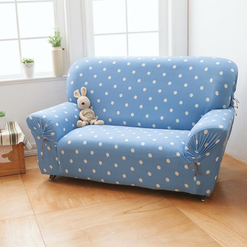 hoi! 【格藍傢飾】雪花甜心涼感彈性沙發套-蘇打藍2人 (H014247160)