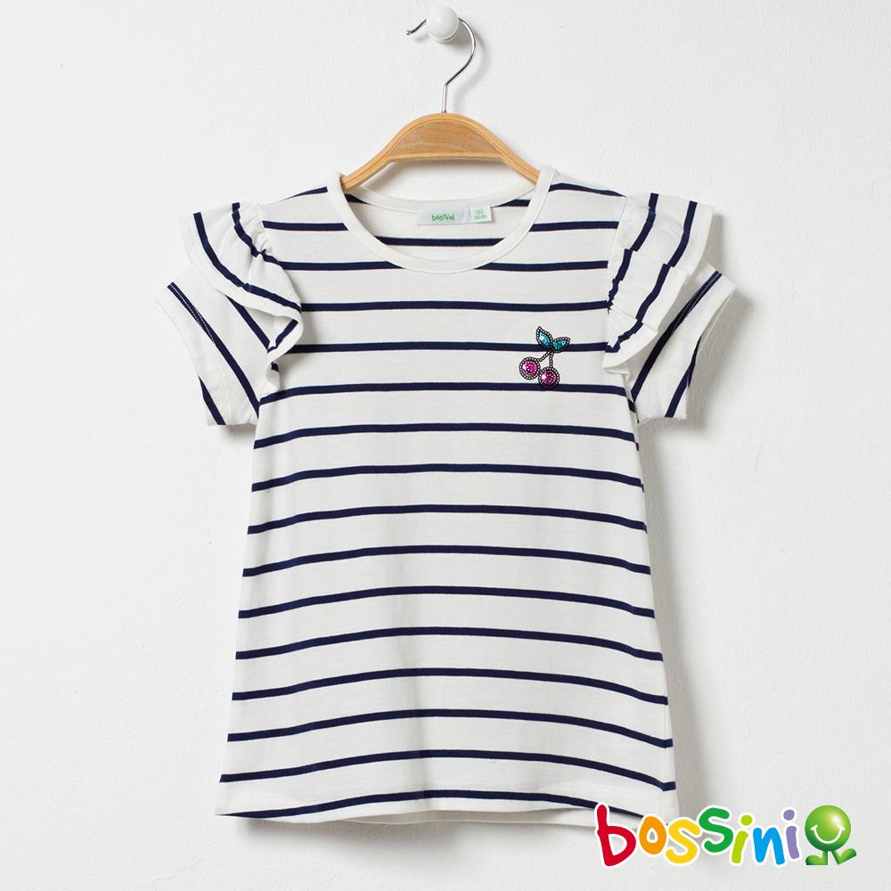 bossini女童-荷葉短袖圓領上衣灰白