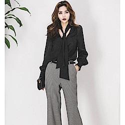 IMStyle 韓國時尚V領蝴蝶結寬鬆繫帶襯衫(黑色/淺灰色)