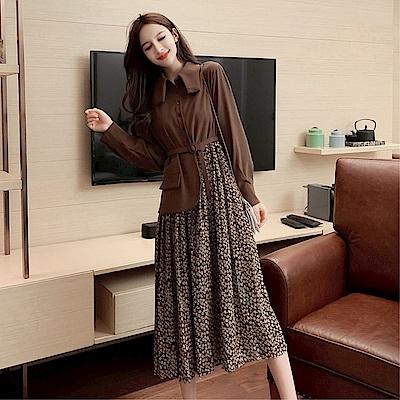 DABI 韓國風優雅氣質顯瘦碎花拼接假兩件長袖洋裝
