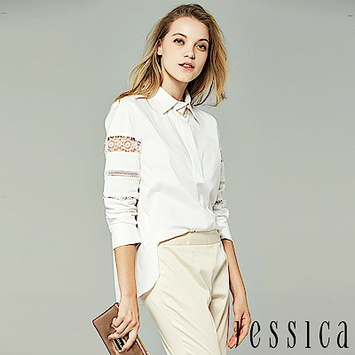 JESSICA - 率性蕾絲拼接造型襯衫(白)