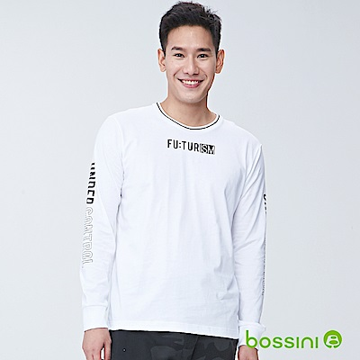 bossini男裝-長袖圓領上衣01白