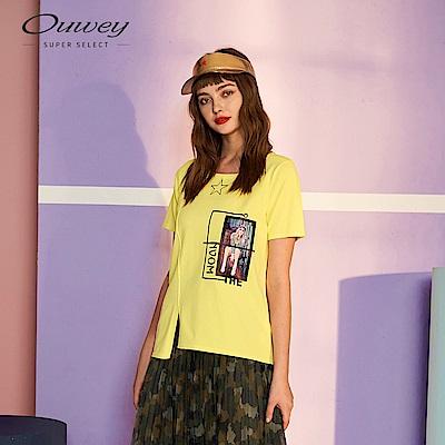 OUWEY歐薇 相片印花針織上衣(黃)