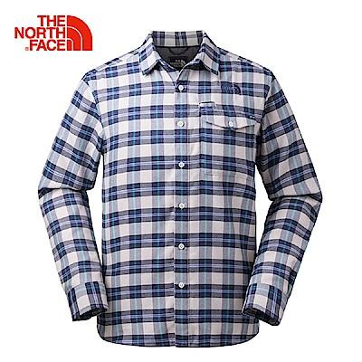 The North Face北面男款藍色格紋休閒長袖襯衫