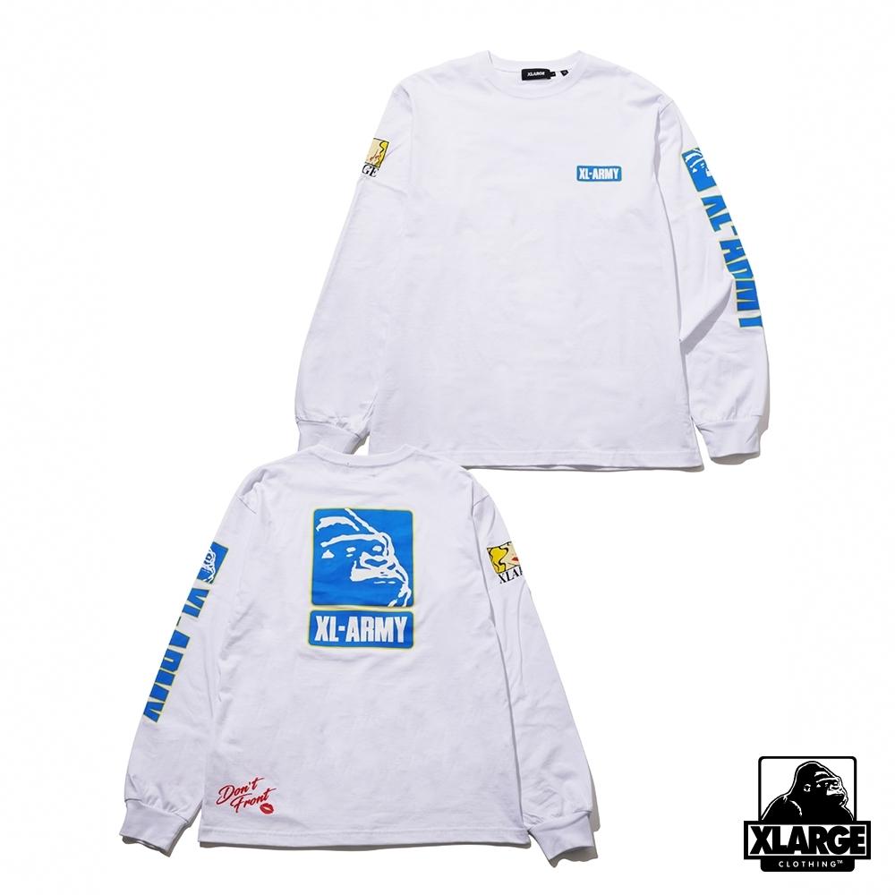 XLARGE L/S TEE XL-ARMY長袖T恤-白
