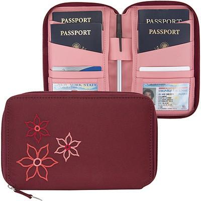 《TRAVELON》Bouquet拉鍊護照夾(酒紅)