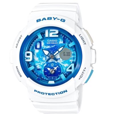 BABY-G 海灘旅行系列清澈藍天兩地時間休閒錶(BGA-190GL-7B)44.3mm