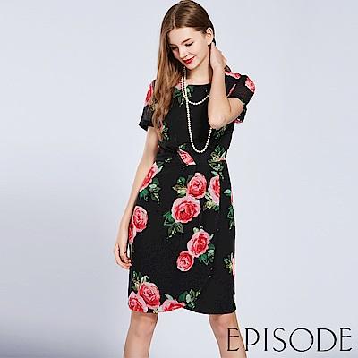 EPISODE - 優雅滿版印花造型修身洋裝