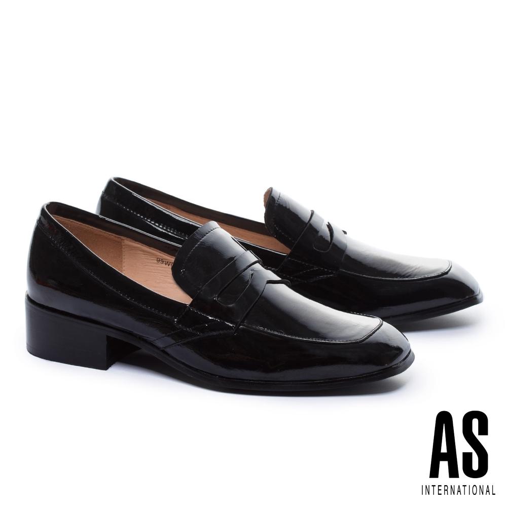低跟鞋 AS 復古知性漆皮樂福低跟鞋-黑