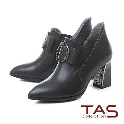 TAS金屬圓飾蝴蝶結牛皮高跟短靴–時尚黑