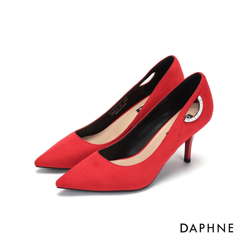 達芙妮DAPHNE 高跟鞋-鑽飾挖空絨布高跟鞋-紅
