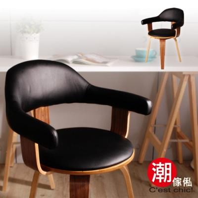 C EST CHIC_YANNIS雅尼斯單椅(皮質)-黑 W55*D53*H77 cm