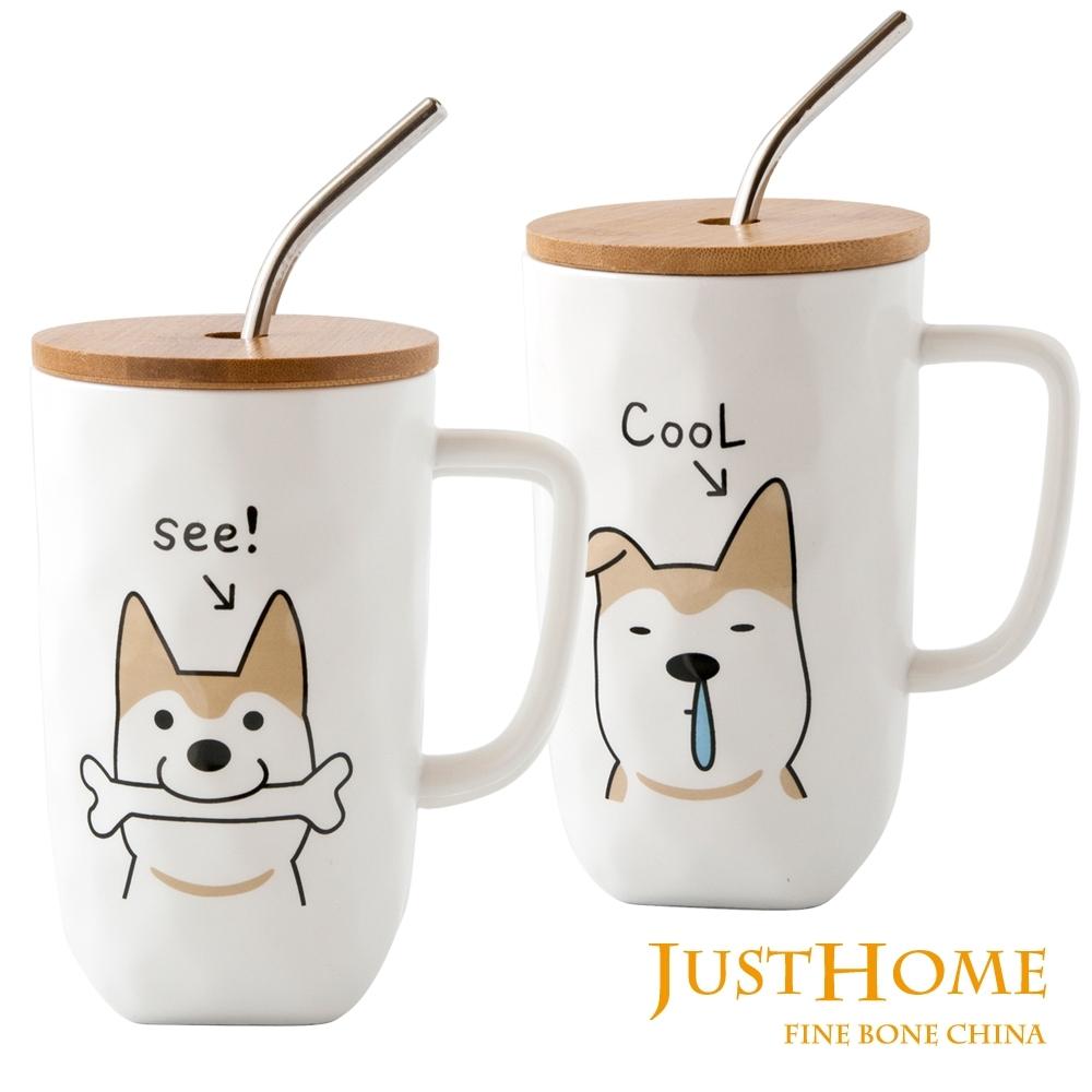 Just Home旺柴陶瓷附蓋馬克杯附不鏽鋼吸管500ml(2入組)