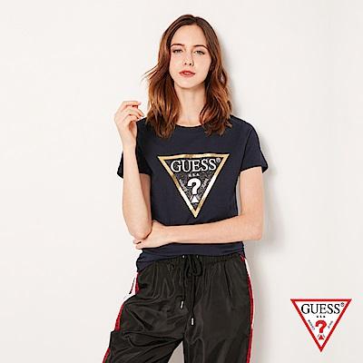 GUESS-女裝-金邊經典倒三角LOGO短T,T恤-藍 原價1290