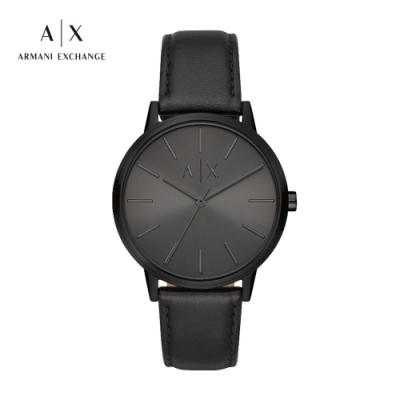 A|X ARMANI EXCHANGE CAYDE 天命真子全黑造型真皮男錶 42mm(AX2705)