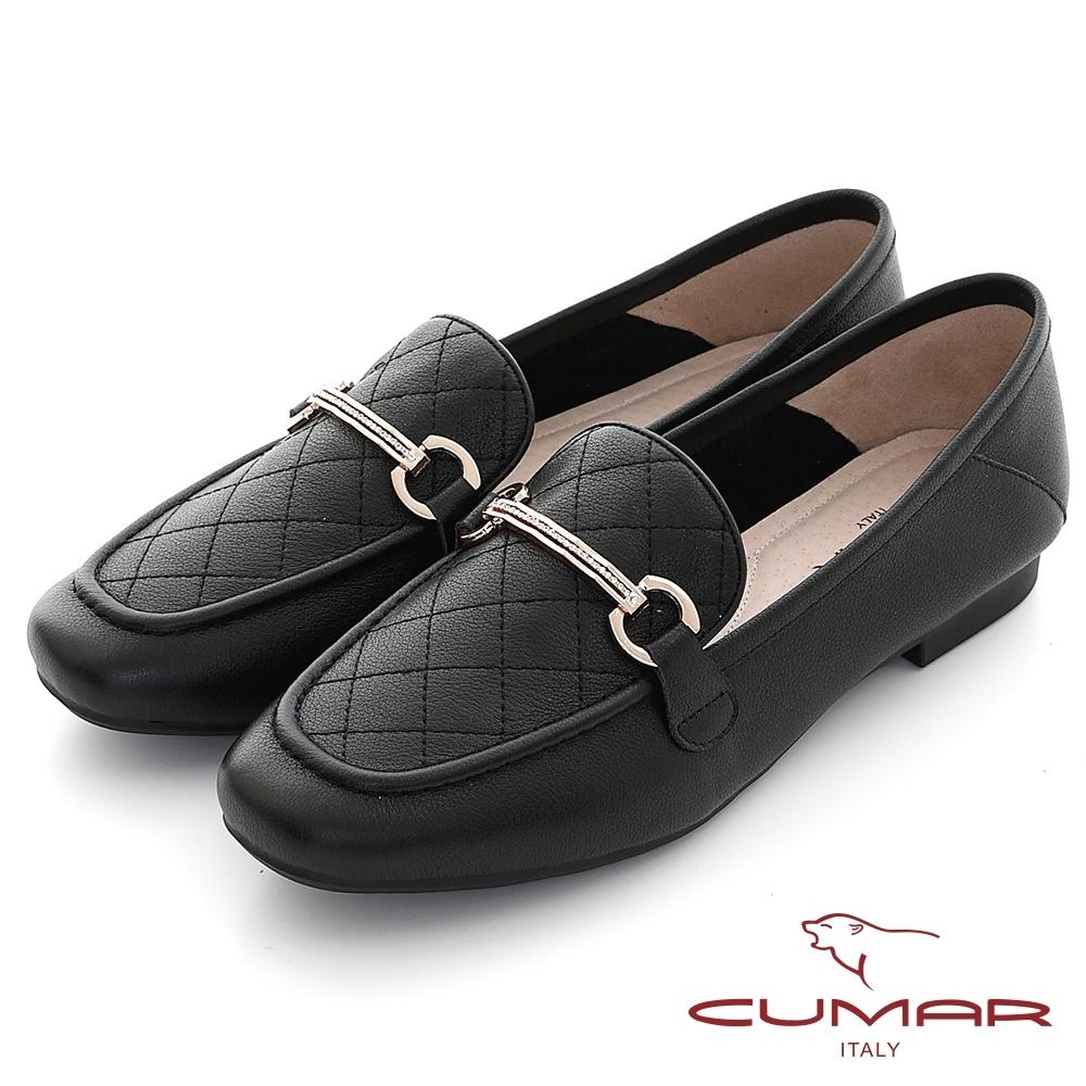 【CUMAR】復刻車格鑽飾方頭樂福平底鞋-黑