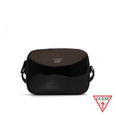 GUESS-女包-漆皮拼接LOGO復古斜背包-黑 原價2690